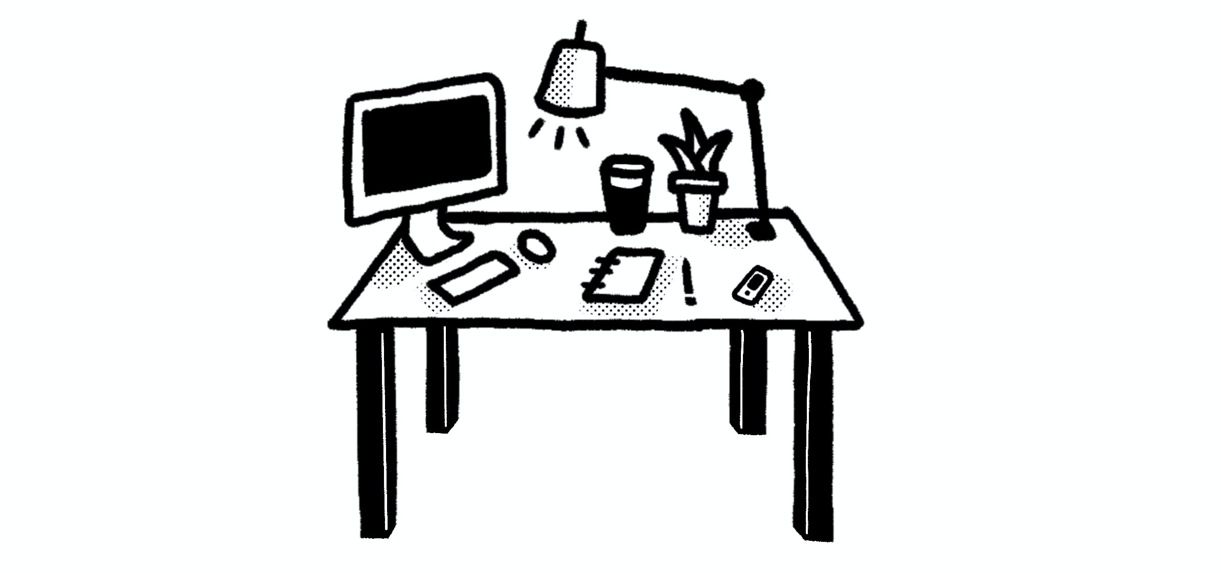 A doodle of what I assume is Dustin Tinney's desk by David Rollyn