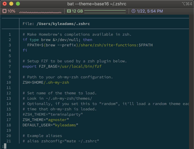 Screenshot of running the bat command
