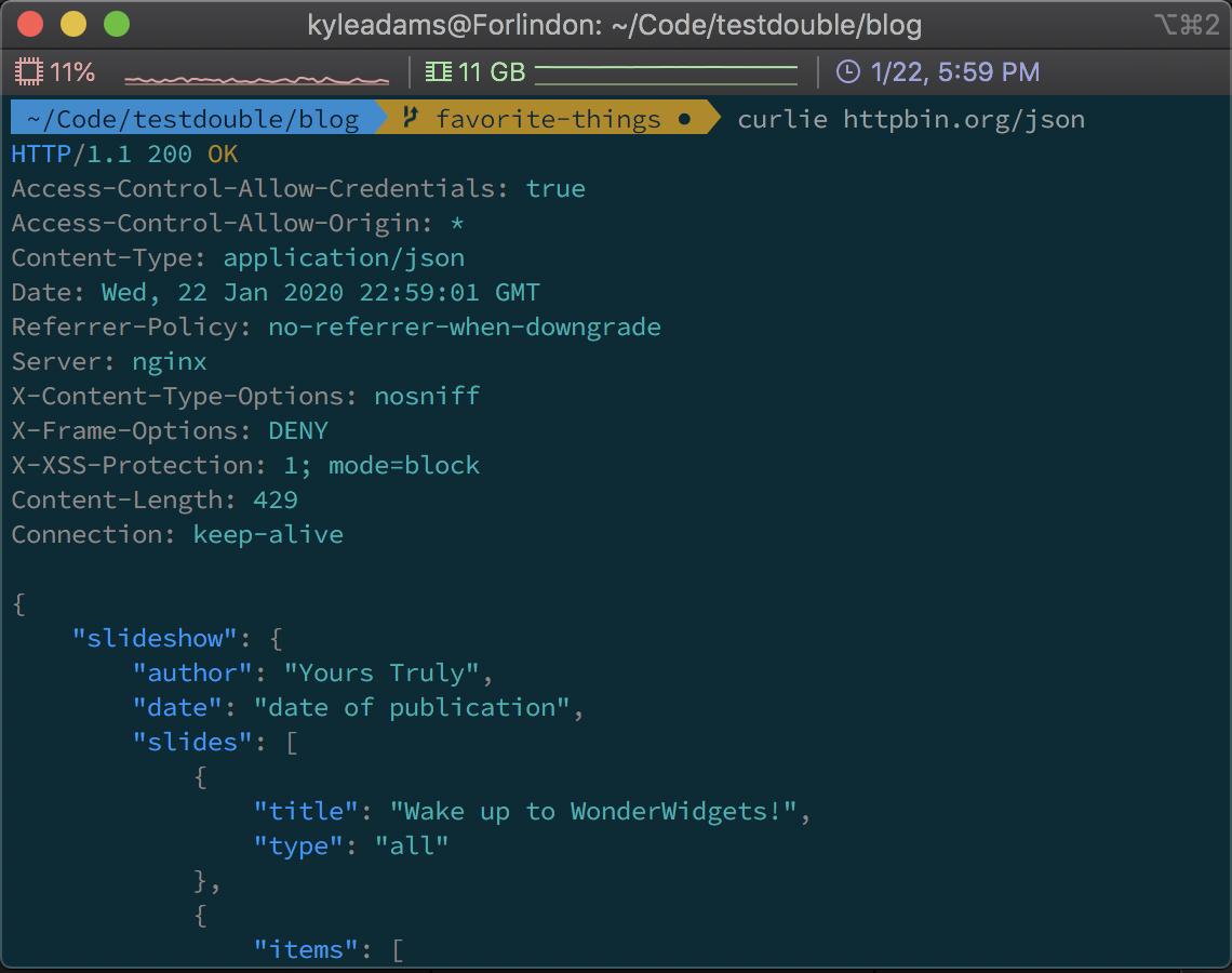 Screenshot of using curlie to perform an HTTP GET