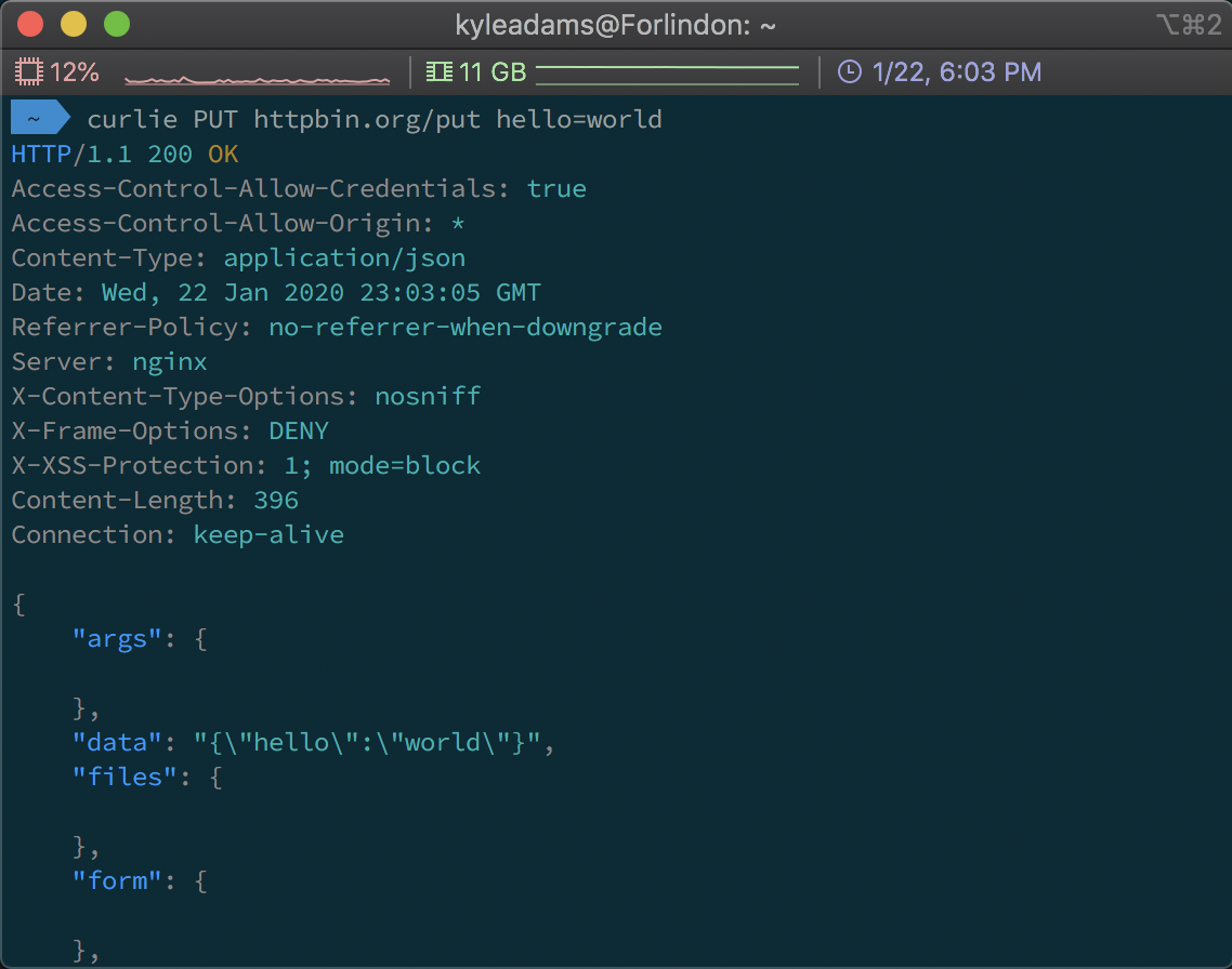 Screenshot of using curlie to perform an HTTP PUT