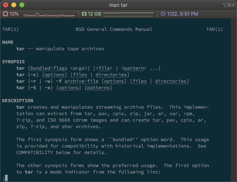 Screenshot of running the man tar command