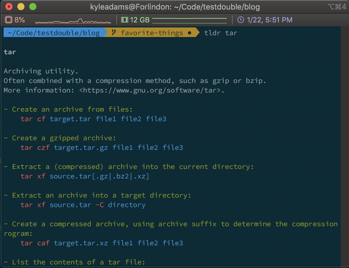 Screenshot of running the tldr tar command
