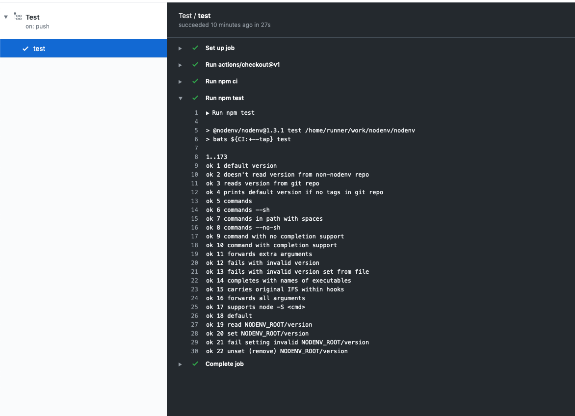 screenshot showing workflow results for basic npm-ci, npm-test