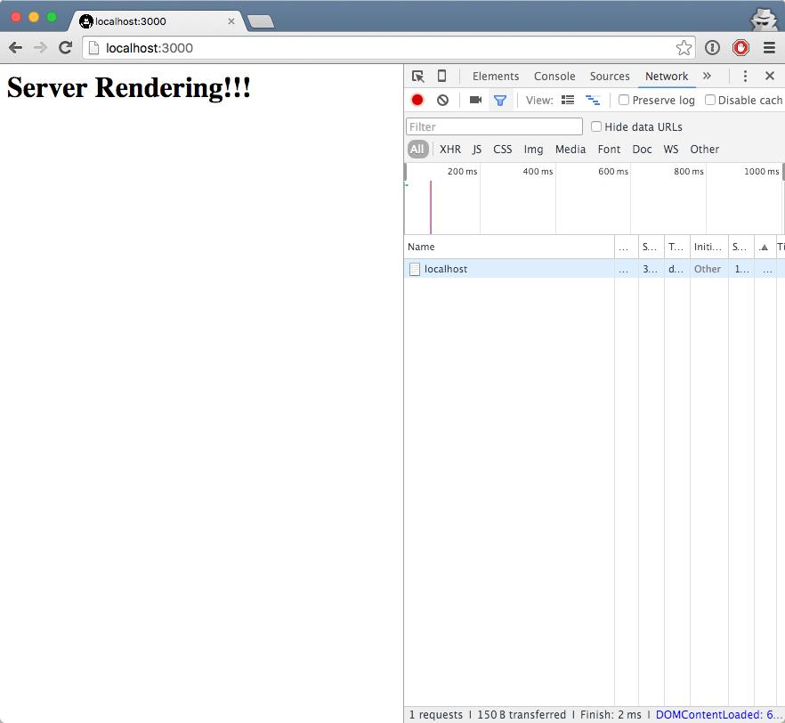 server rendered code