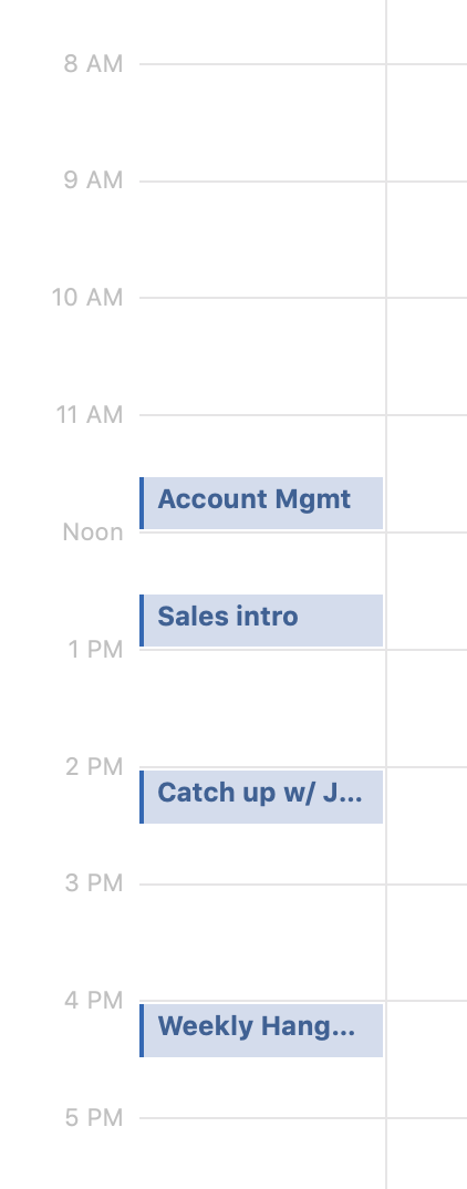 A day from my calendar with four 30-minute meetings, spread out