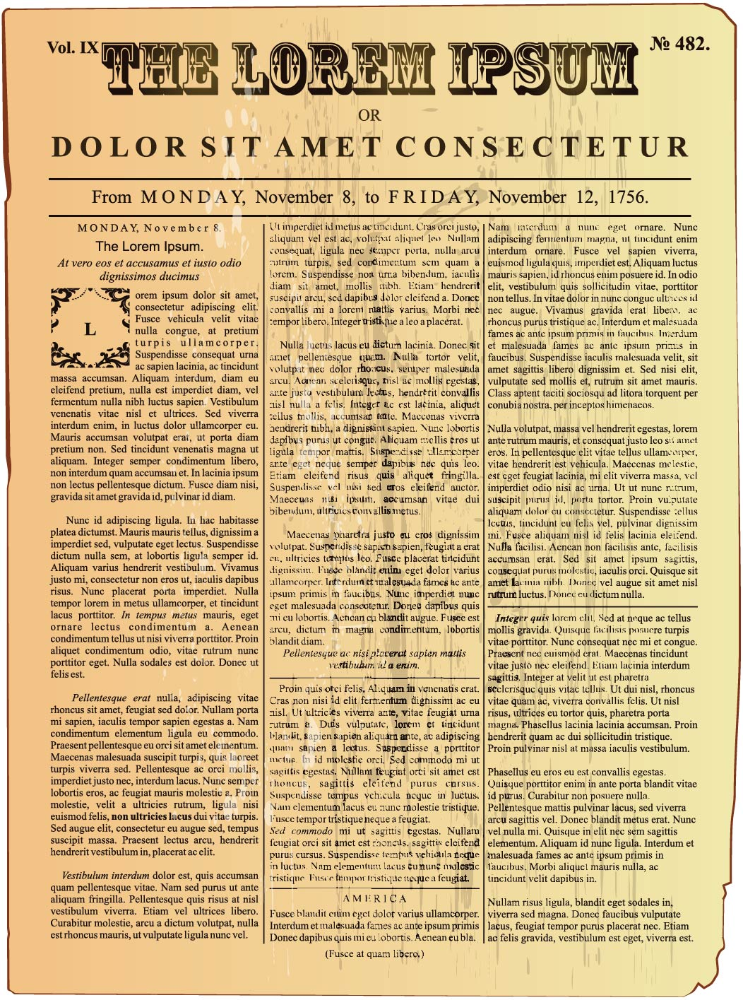 The Lorem Ipsum (a fake vintage newspaper)