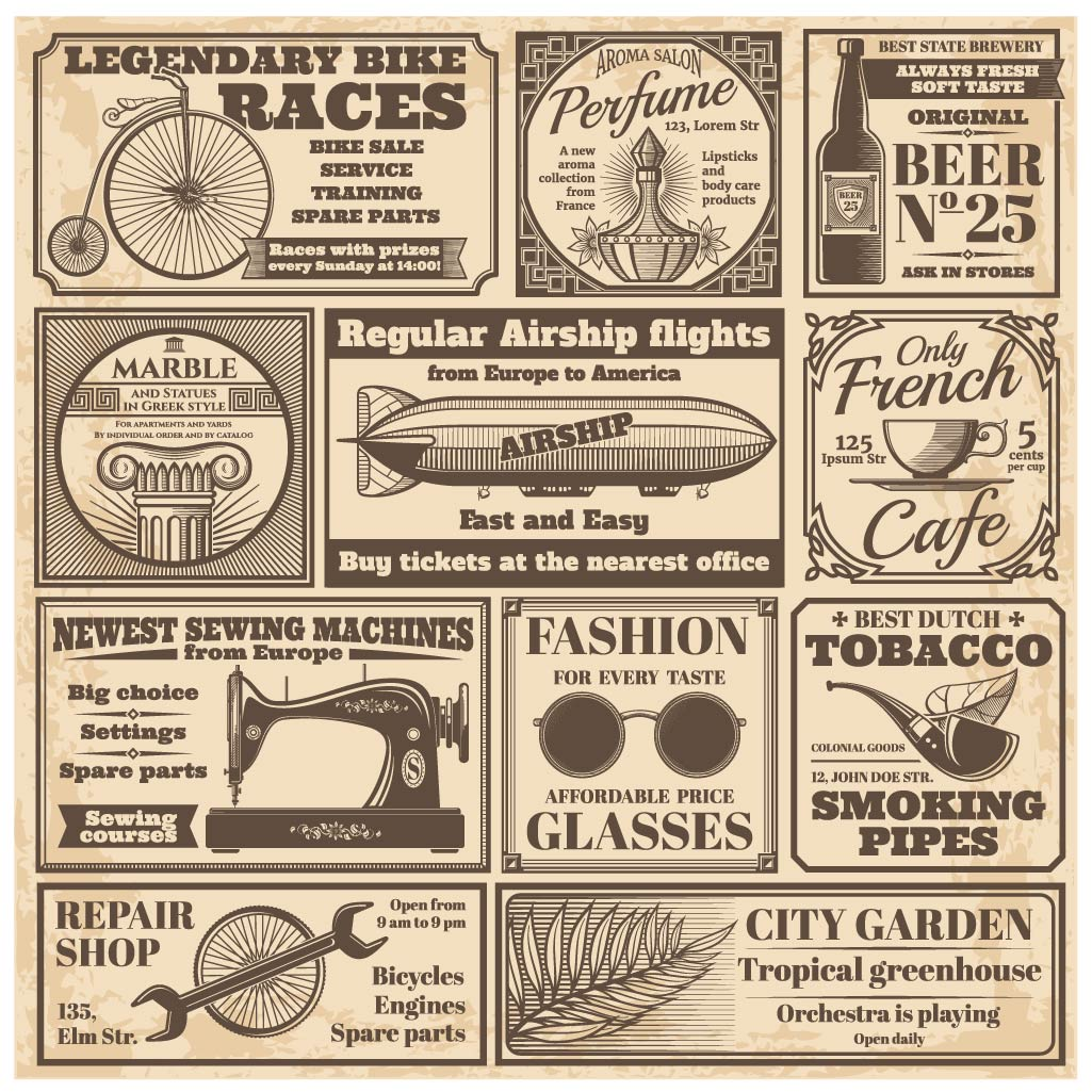 Vintage newspaper advertisements